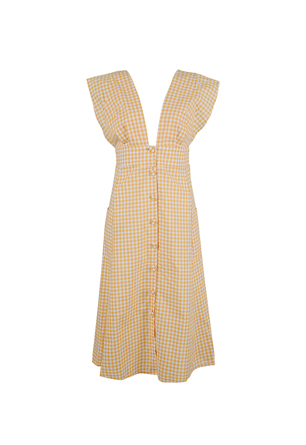 Button Dress - Orange Check