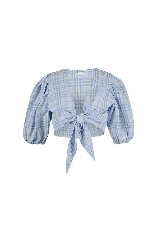Puff Blouse - Blue Check