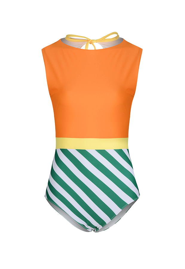 20 Fiona H Suit - Orange / Green Stripe